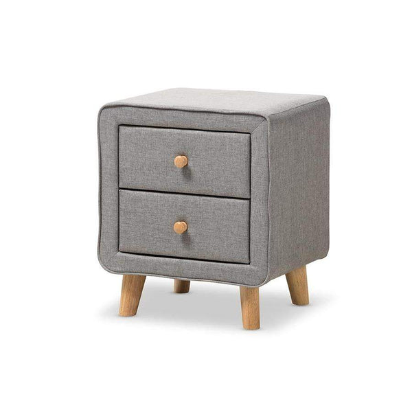 Baxton Studio Jonesy Mid-Century Grey Fabric Upholstered 2-Drawer Nightstand - BBT3140-Grey-NS-800F-Nightstands-Floor Mirror Gallery