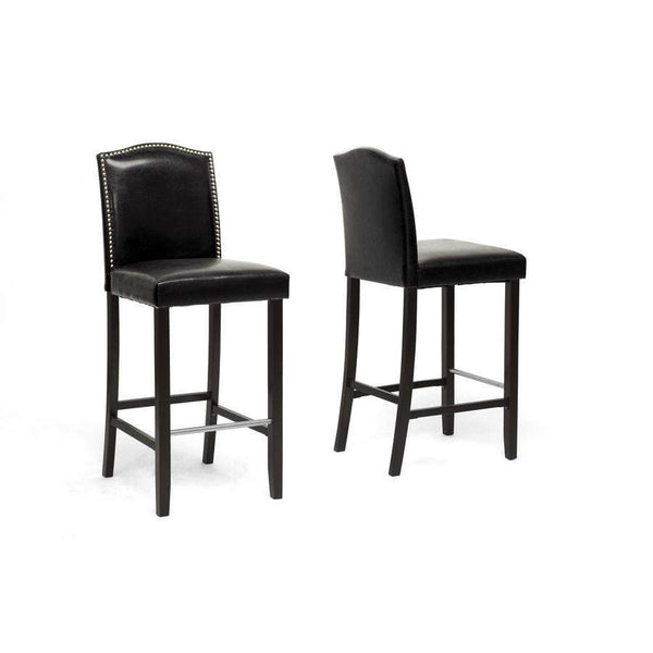 Baxton Studio Libra Black Modern Bar Stool with Nail Head Trim - BBT5111 Bar Stool-Black-Bar Stools-Floor Mirror Gallery