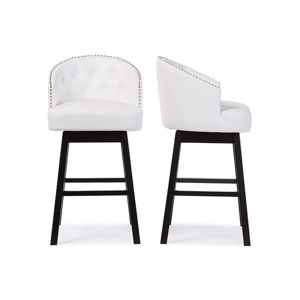 Baxton Studio Avril Modern and Contemporary White Faux Leather Tufted Swivel Barstool with Nail heads Trim - BBT5210A1-BS-White-Bar Stools-Floor Mirror Gallery