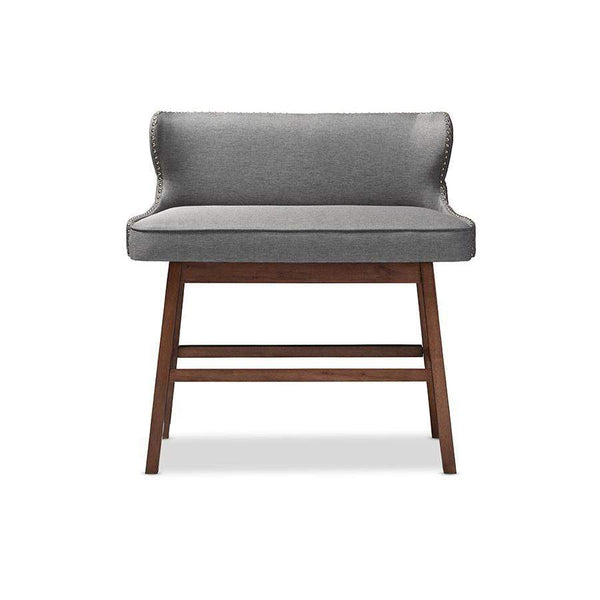 Baxton Studio Gradisca Modern and Contemporary Grey Fabric Button-tufted Upholstered Bar Bench Banquette - BBT5218-Grey Bench-Bar Stools-Floor Mirror Gallery