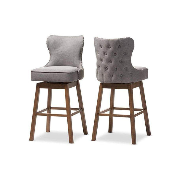 Baxton Studio Gradisca Modern and Contemporary Brown Wood Finishing and Grey Fabric Button-Tufted Upholstered Swivel Barstool - BBT5246B-BS-Grey-XD45-Bar Stools-Floor Mirror Gallery