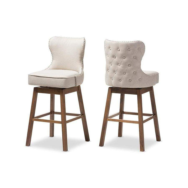 Baxton Studio Gradisca Modern and Contemporary Brown Wood Finishing and Light Beige Fabric Button-Tufted Upholstered Swivel Barstool - BBT5246B-BS-Light Beige-6086-1-Bar Stools-Floor Mirror Gallery