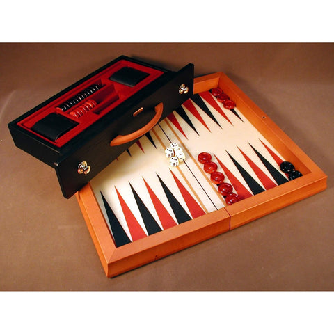 Red & Blk Wood Flat Backgammon, Chiellini, Italy, BGVRB, by WorldWise Imports-Backgammon-Floor Mirror Gallery
