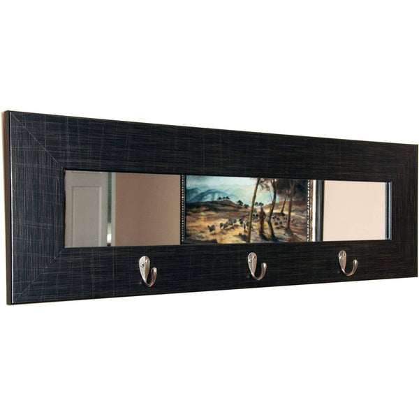 "Brandt Works Last Look Scratched Black Wall Mirror with Hooks BM005HK 32.5""x10.5""-Wall Mirror w Hooks-Floor Mirror Gallery"