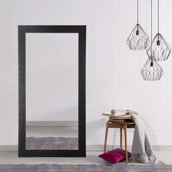 "Brandt Works Scratched Black Floor Mirror BM005TS 32""x66""-Floor Mirror-Floor Mirror Gallery"