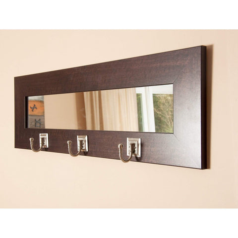 "Brandt Works Last Look Dark Walnut Wall Mirror with Hooks BM006HK 32.5""x10.5""-Wall Mirror w Hooks-Floor Mirror Gallery"