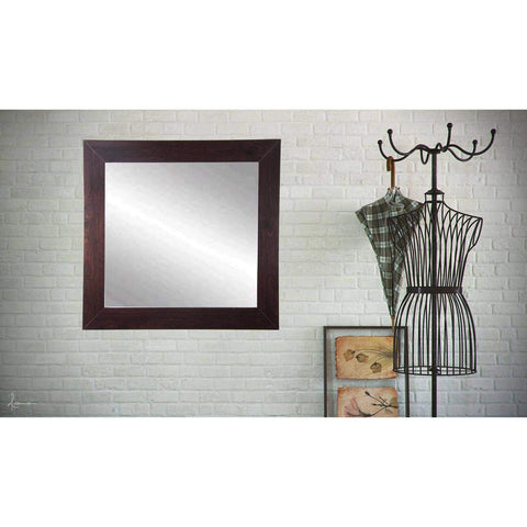 "Brandt Works Walnut Square Wall Mirror BM006SQ 32""x32""-Wall Mirror-Floor Mirror Gallery"