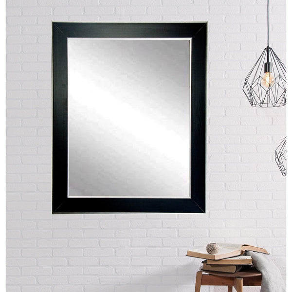 "Brandt Works Silver Accent Black Wall Mirror BM011L2 32""x50""-Wall Mirror-Floor Mirror Gallery"