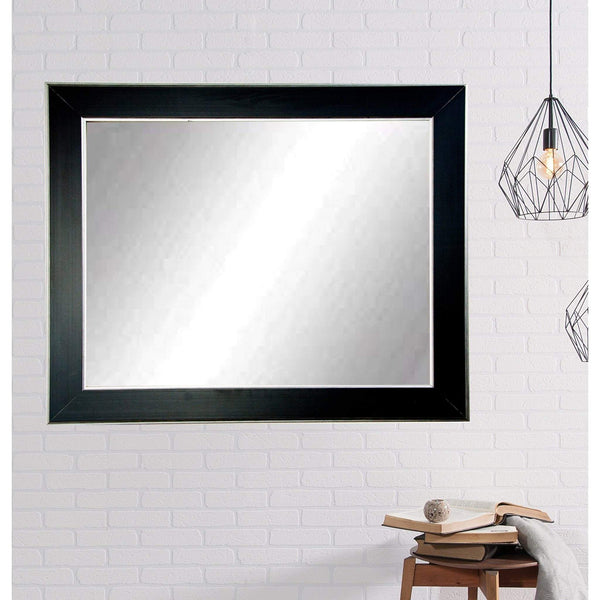 "Brandt Works Silver Accent Black Wall Mirror BM011L3 32""x55""-Wall Mirror-Floor Mirror Gallery"