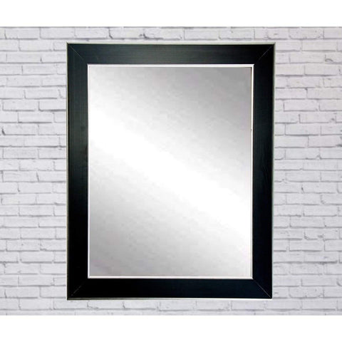 "Brandt Works Silver Accent Black Wall Mirror BM011M2 32""x36""-Wall Mirror-Floor Mirror Gallery"