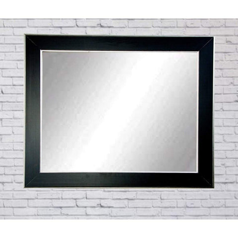 "Brandt Works Silver Accent Black Wall Mirror BM011M3 32""x41""-Wall Mirror-Floor Mirror Gallery"
