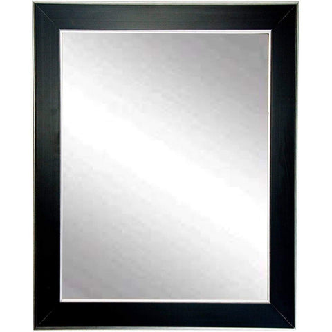 "Brandt Works Silver Accent Black Wall Mirror BM011S 22""x32""-Wall Mirror-Floor Mirror Gallery"