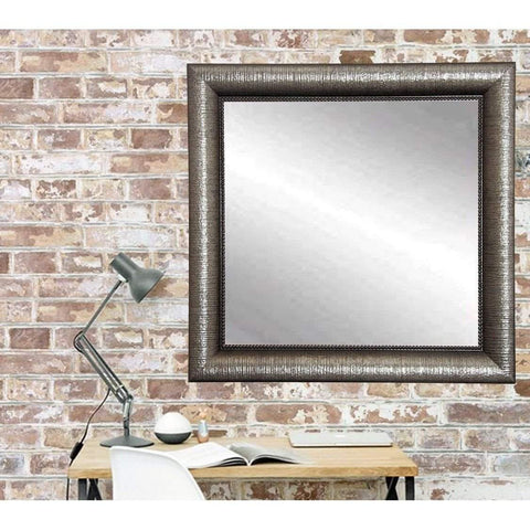 "Brandt Works Silver Metallic Square Wall Mirror BM016SQ 32""x32""-Wall Mirror-Floor Mirror Gallery"