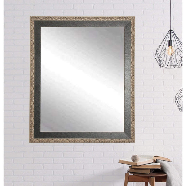 "Brandt Works Noble Black and Pewter Wall Mirror BM020L 31""x37""-Wall Mirror-Floor Mirror Gallery"