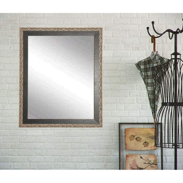 "Brandt Works Noble Black and Pewter Wall Mirror BM020M2 31""x35""-Wall Mirror-Floor Mirror Gallery"