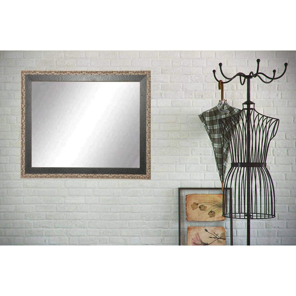 "Brandt Works Noble Black and Pewter Wall Mirror BM020M3 31""x40""-Wall Mirror-Floor Mirror Gallery"