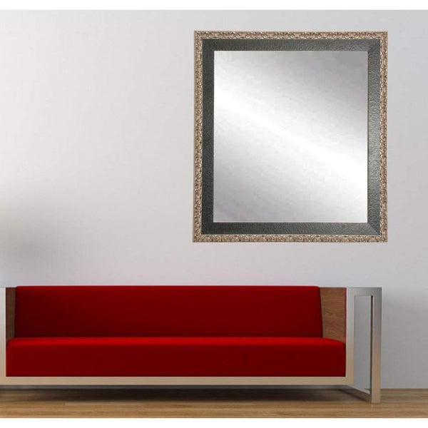 "Brandt Works Noble Black and Pewter Square Wall Mirror BM020SQ 31""x31""-Wall Mirror-Floor Mirror Gallery"