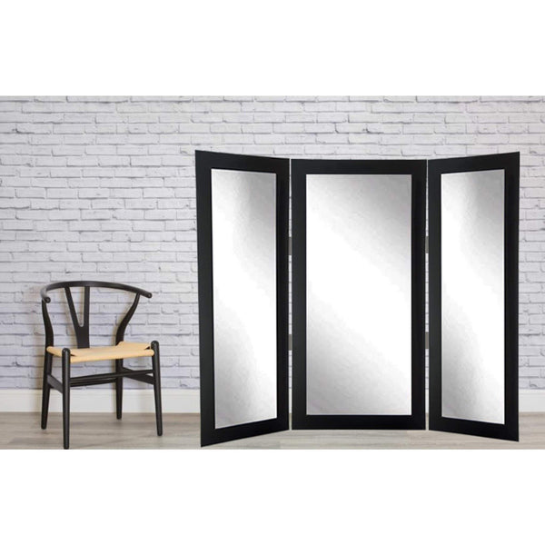 Brandt Works Matte Black Tri-Fold 3 Way Dressing Mirror-Tri-Fold Mirror-Floor Mirror Gallery