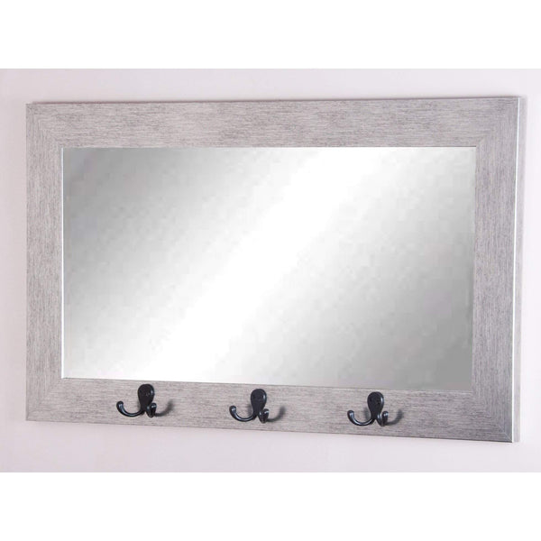 "Brandt Works Silver Grain Pub Utility Hook Mirror BM4PUB 22""x35.5""-Wall Mirror w Hooks-Floor Mirror Gallery"