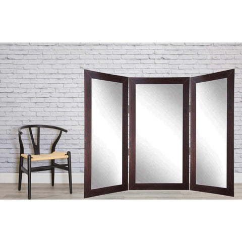 Brandt Works Dark Walnut Tri-Fold 3 Way Dressing Mirror-Tri-Fold Mirror-Floor Mirror Gallery