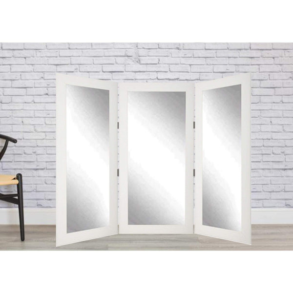 Brandt Works Rustic White Wood Tri-Fold 3 Way Dressing Mirror-Tri-Fold Mirror-Floor Mirror Gallery
