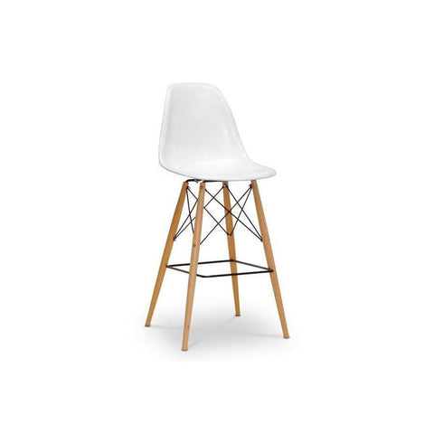 Baxton Studio Azzo White Plastic Mid-Century Modern Shell Stool - BS-231A(B)-white-Bar Stools-Floor Mirror Gallery
