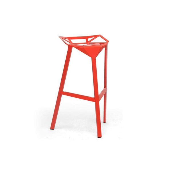 Baxton Studio Kaysa Red Aluminum Modern Bar Stool - BS-363-Red-Bar Stools-Floor Mirror Gallery