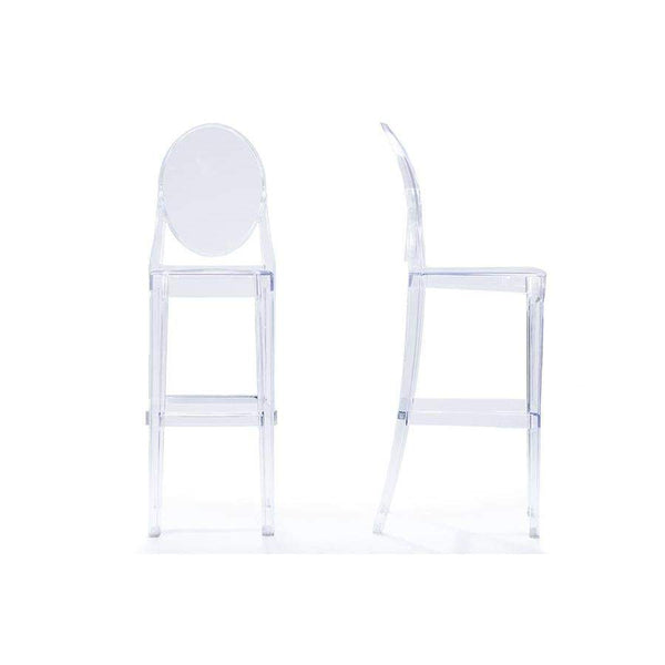 Baxton Studio Infinity Clear Plastic Contemporary Bar Stool - BS-448A-Clear-Bar Stools-Floor Mirror Gallery