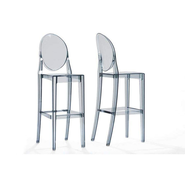 Baxton Studio Infinity Smoked Plastic Contemporary Bar Stool - BS-448A-Smoke-Bar Stools-Floor Mirror Gallery