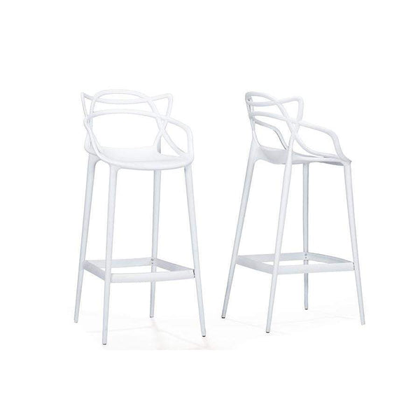 Baxton Studio Electron White Plastic Contemporary Bar Stool - BS-936-White-Bar Stools-Floor Mirror Gallery