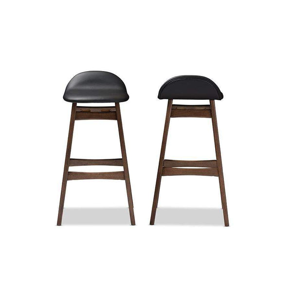 Baxton Studio Bloom Mid-century Retro Modern Scandinavian Style Black Faux Leather Upholstered Walnut Wood Finishing 30-Inches Bar Stool - Bloom Barstool-Black PVC-Bar Stools-Floor Mirror Gallery