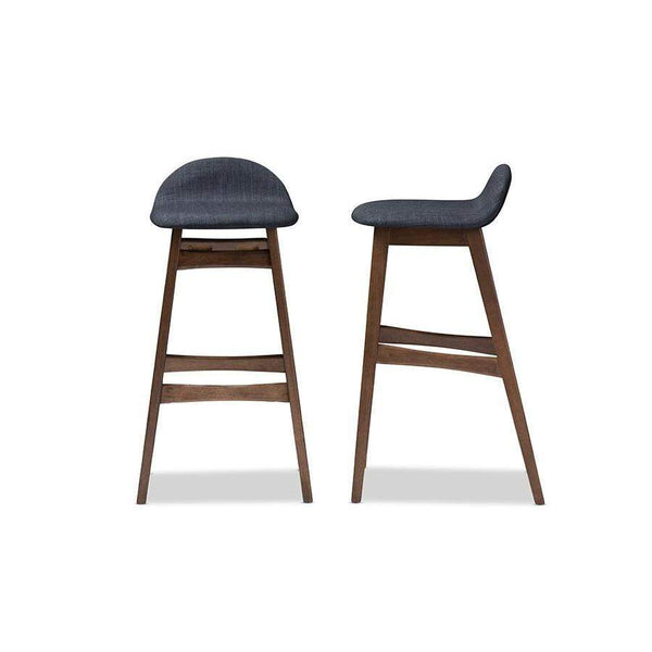 Baxton Studio Bloom Scandinavian Style Dark Blue Fabric Upholstered Walnut Wood Finishing 30-Inches Bar Stool - Bloom Barstool - Dark Blue-Bar Stools-Floor Mirror Gallery