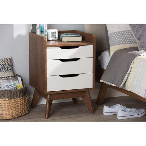 Baxton Studio Brighton Mid-Century Modern White and Walnut Wood 3-Drawer Storage Nightstand - Brighton-Walnut/White-NS-Nightstands-Floor Mirror Gallery
