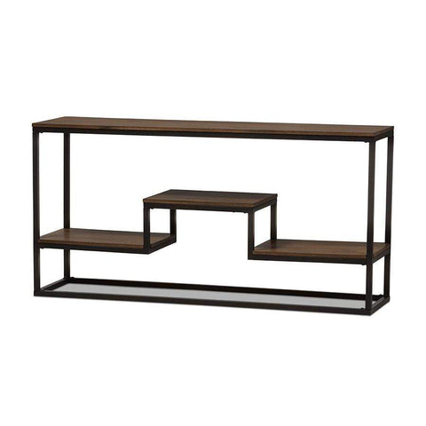 Baxton Studio Doreen Rustic Industrial Style Antique Black Textured Finished Metal Distressed Wood Console Table - CA-1113 (YLX-2677)-Console Tables-Floor Mirror Gallery