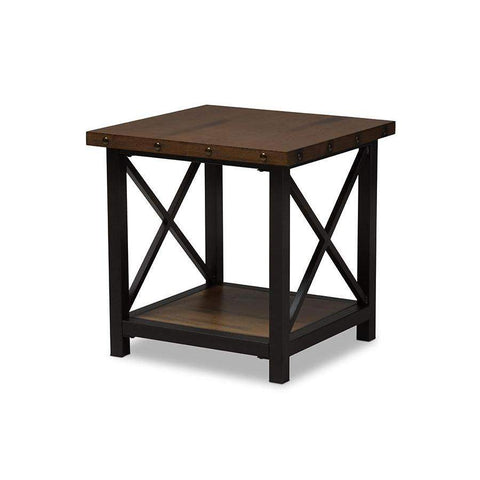 Baxton Studio Herzen Rustic Industrial Style Antique Black Textured Finished Metal Distressed Wood Occasional End Table - CA-1117-ET (YLX-2680ET)-Coffee, Accent Tables-Floor Mirror Gallery