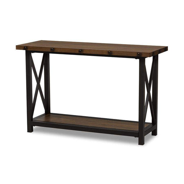 Baxton Studio Herzen Rustic Industrial Style Antique Black Textured Finished Metal Distressed Wood Occasional Console Table - CA-1117-ST (YLX-2680ST)-Console Tables-Floor Mirror Gallery