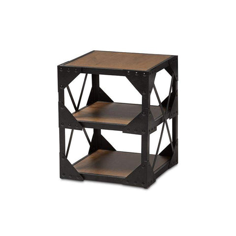 Baxton Studio Hudson Rustic Industrial Style Antique Black Textured Finished Metal Distressed Wood Occasional Side Table - CA-1120-ET-Coffee, Accent Tables-Floor Mirror Gallery