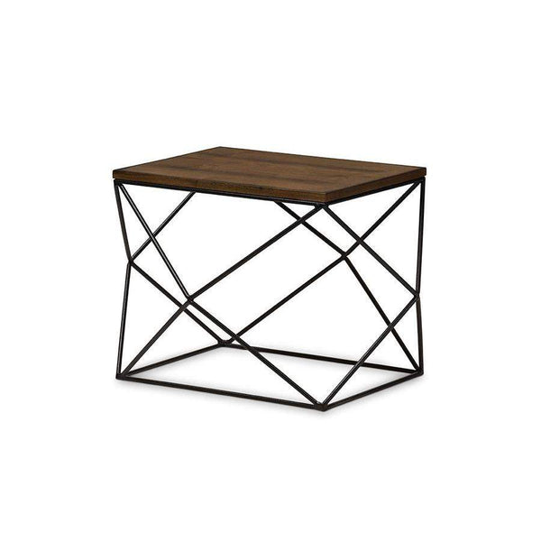 Baxton Studio Stilo Rustic Industrial Style Antique Black Textured Finished Metal Distressed Wood Occasional End Table - CA-1135-ET-Coffee, Accent Tables-Floor Mirror Gallery