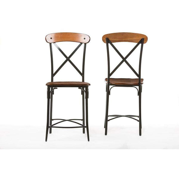 Baxton Studio Broxburn Light Brown Wood & Metal Bar Stool - CDC222-PP2-Bar Stools-Floor Mirror Gallery