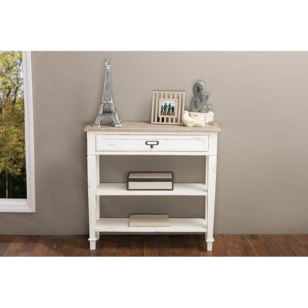 Baxton Studio Dauphine Traditional French Accent Console Table—1 Drawer - CHR10VM/M B-C-Console Tables-Floor Mirror Gallery