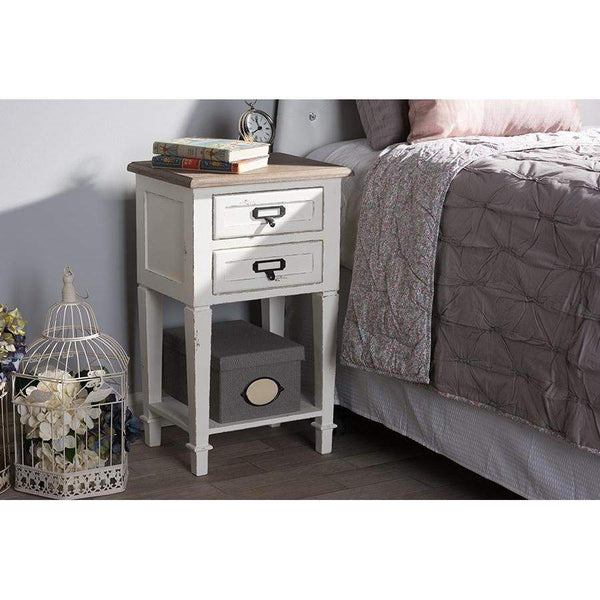 Baxton Studio Dauphine Provincial Style Weathered Oak and White Wash Distressed Finish Wood Nightstand - CHR20VM/M B-C-Nightstands-Floor Mirror Gallery