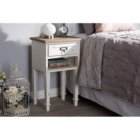 Baxton Studio Dauphine Provincial Style Weathered Oak and White Wash Distressed Finish Wood Nightstand - CHR6VM/M B-CA-Nightstands-Floor Mirror Gallery
