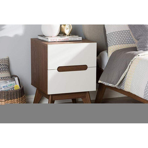 Baxton Studio Calypso Mid-Century Modern White and Walnut Wood 3-Drawer Storage Nightstand - Calypso-Walnut/White-NS-Nightstands-Floor Mirror Gallery
