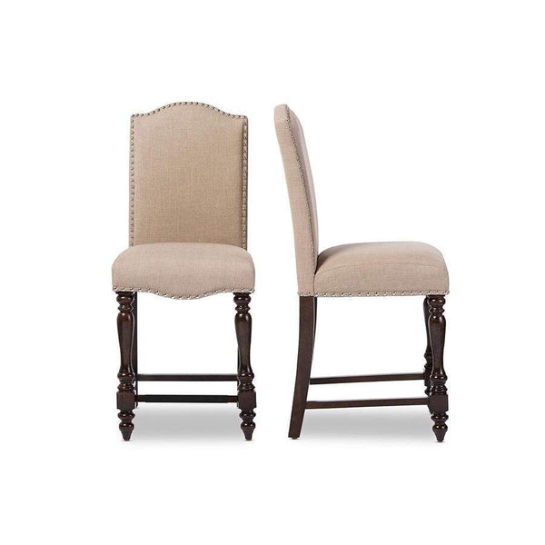 Baxton Studio Zachary Chic French Vintage Oak Brown Beige Linen Fabric Upholstered Counter Height Dining Chair - DC18836P-BS-Bar Stools-Floor Mirror Gallery
