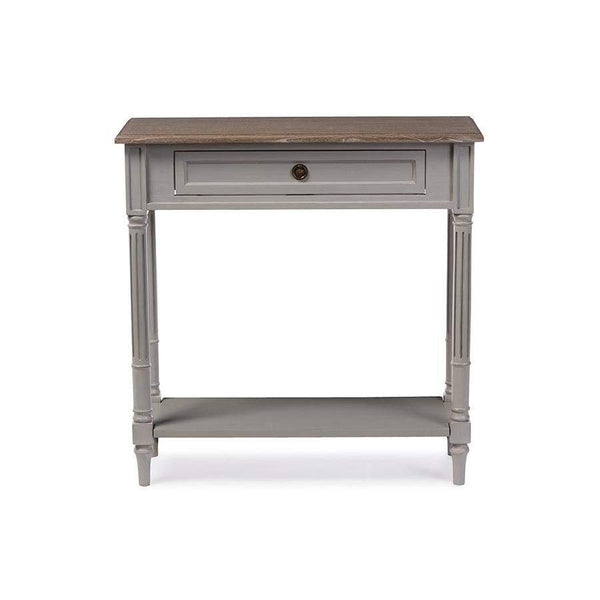 Baxton Studio Edouard French Provincial Style White Wash Distressed Two-tone 1-drawer Console Table - EDD8VM/M-B-W1-Console Tables-Floor Mirror Gallery