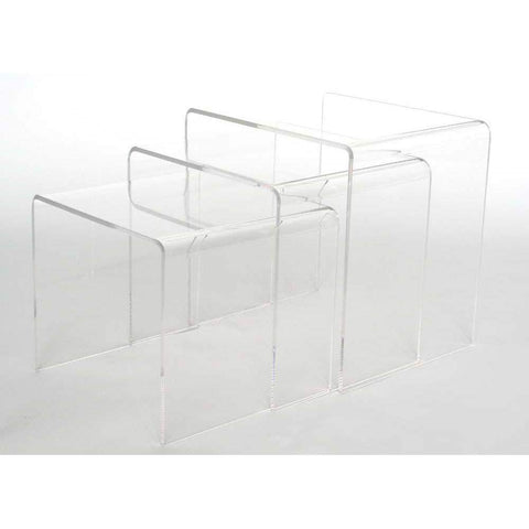 Baxton Studio Acrylic Nesting Table 3-Pc Table Set Display Stands - FAY-510-Coffee, Accent Tables-Floor Mirror Gallery
