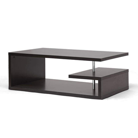 Baxton Studio Lindy Dark Brown Modern Coffee Table - FP-2Tier-CT-Coffee, Accent Tables-Floor Mirror Gallery