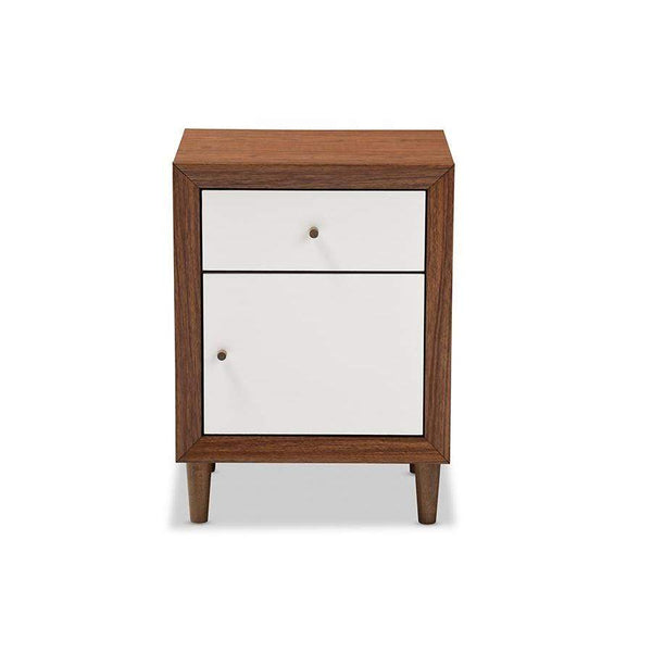 Baxton Studio Harlow Mid-century Modern Scandinavian Style White and Walnut Wood 1-drawer and 1-door Nightstand - FP-6783-Walnut/White-NS-Nightstands-Floor Mirror Gallery