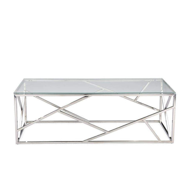 Baxton Studio Fiona Modern and Contemporary Stainless Steel Coffee Table with Tempered Glass Top - GY-CT-2051214-Coffee, Accent Tables-Floor Mirror Gallery