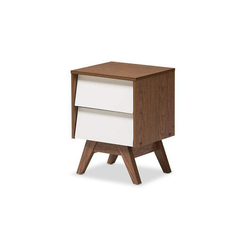 Baxton Studio Hildon Mid-Century Modern White and Walnut Wood 2-Drawer Storage Nightstand - Hildon NS-Walnut/White-Nightstands-Floor Mirror Gallery